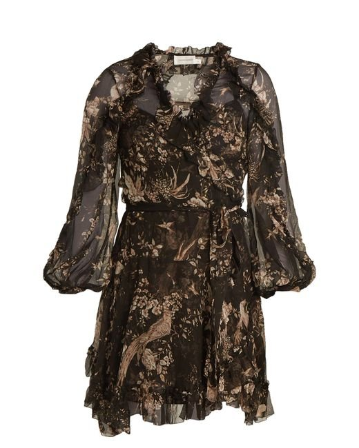Zimmermann | Multicolor Maples Feathery Floral-print Silk Wrap Dress | Lyst