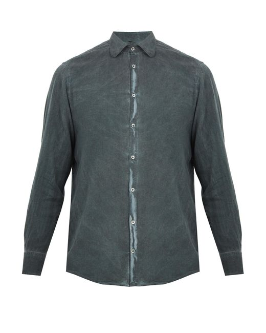 Massimo Alba | Gray Spread-collar Brushed-twill Shirt for Men | Lyst