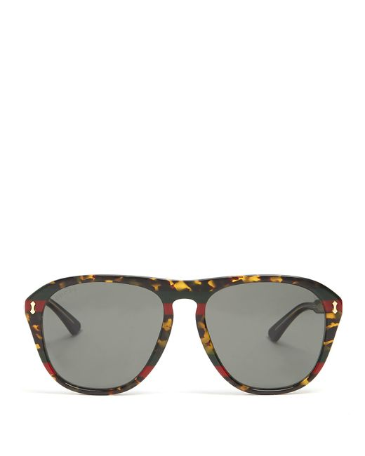 7d2e19ca1db Gucci Round-frame Tortoiseshell Acetate And Gold-tone Sunglasses ...