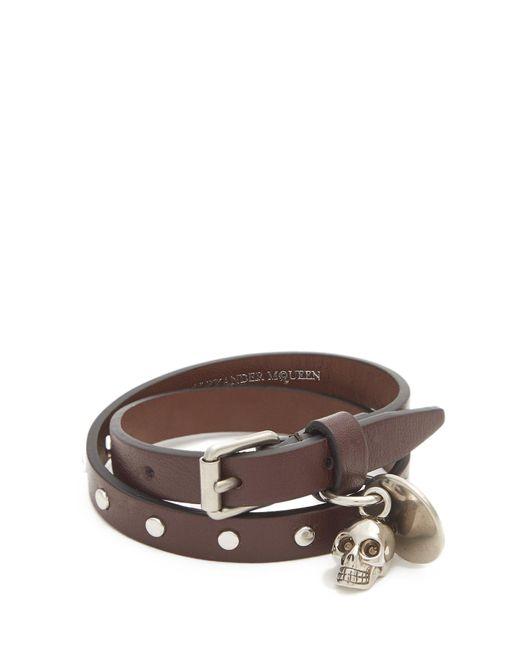 Alexander McQueen | Brown Leather Wraparound Leather Bracelet for Men | Lyst