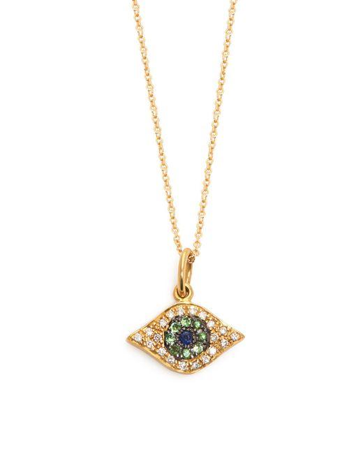 Ileana Makri - Metallic Kitten Eye Diamond, Tsavorite & Sapphire Necklace - Lyst