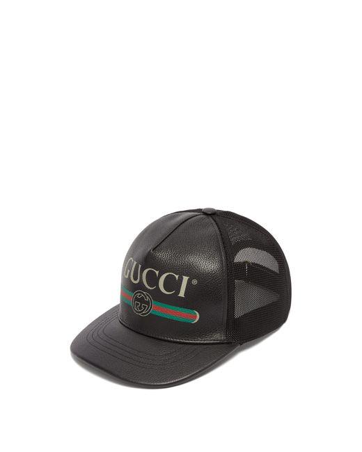 8b2e8e14929b Gucci Black Logo Print Leather Baseball Cap in Black for Men - Save ...