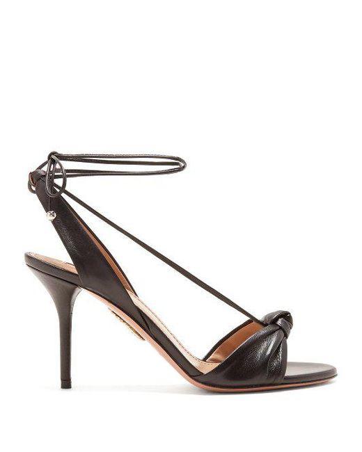 black Virginie 85 leather sandals Aquazzura LtHjP725