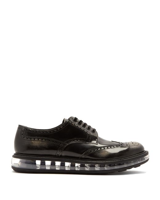 Prada | Black Bubble-midsole Leather Brogues for Men | Lyst
