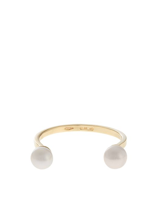 Delfina Delettrez | Metallic Double-Pearl Yellow-Gold Ring | Lyst