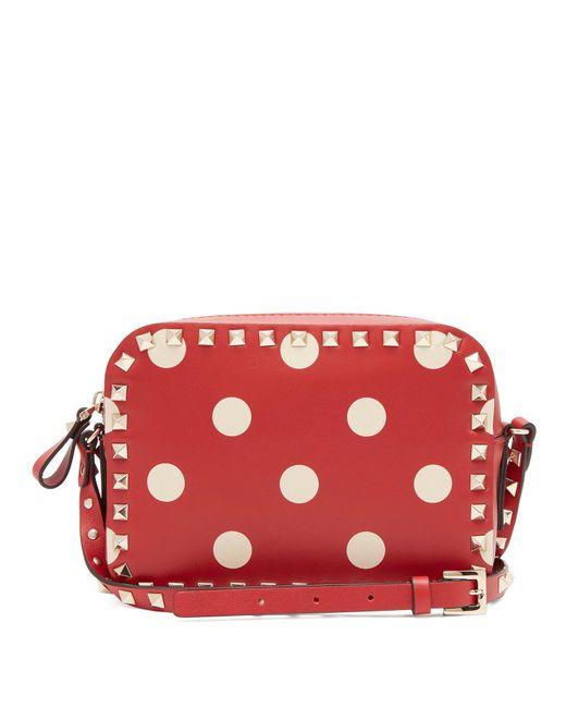Valentino - Red Rockstud Camera Polka Dot Leather Cross Body Bag - Lyst