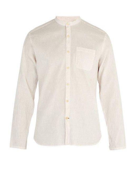 Oliver Spencer - Pink Striped Cotton And Linen-blend Shirt for Men - Lyst