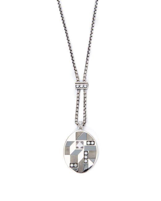 Bottega Veneta - Metallic Oval Pendant Necklace - Lyst
