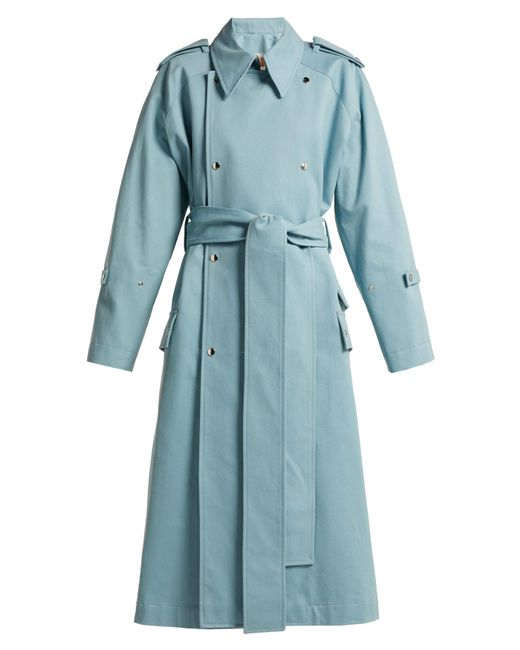 Acne - Blue Double Breasted Cotton Trench Coat - Lyst