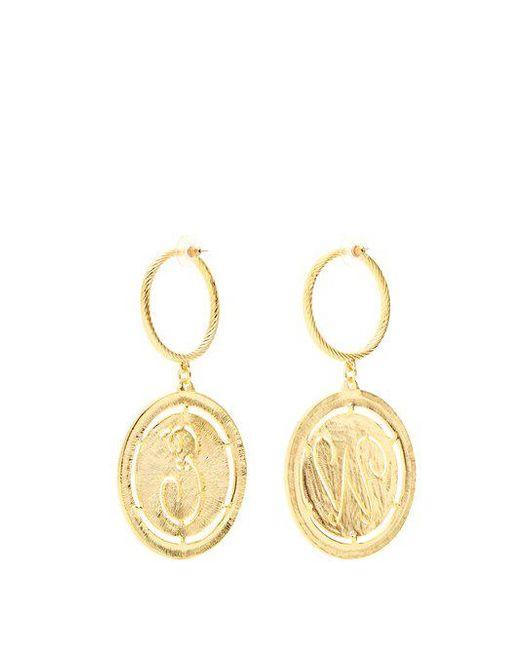 Glenda gold-plated hoop and disc-drop earrings Emilia Wickstead nLh8d7ACXo