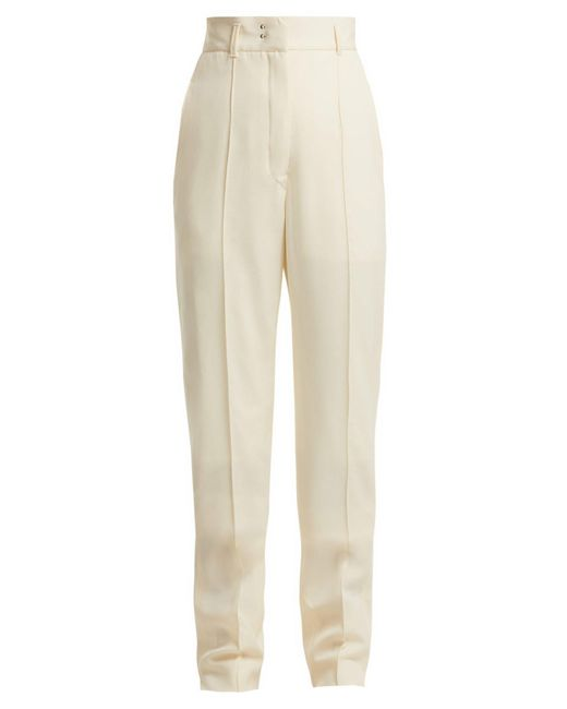 Lemaire Natural High Waist Tailored Wool Trousers