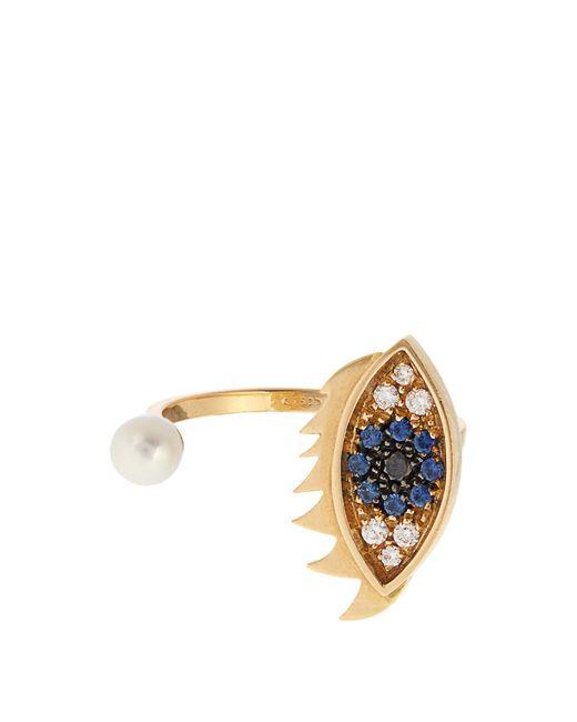 Delfina Delettrez | Blue Diamond, Sapphire, Pearl & Gold Ring | Lyst