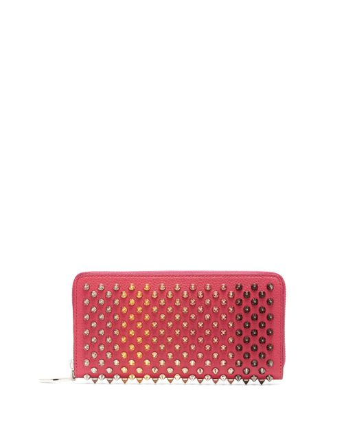 Christian Louboutin - Pink Panettone Spike Embellished Leather Wallet - Lyst