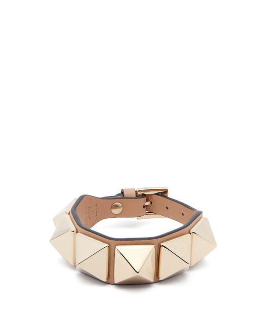 Valentino - Multicolor Large Rockstud Leather Bracelet - Lyst