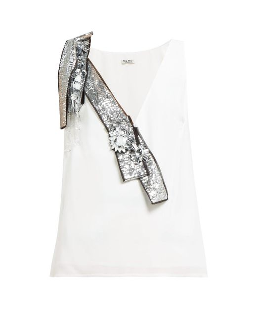 Miu Miu - White Crystal And Sequin Embellished Crepe Top - Lyst