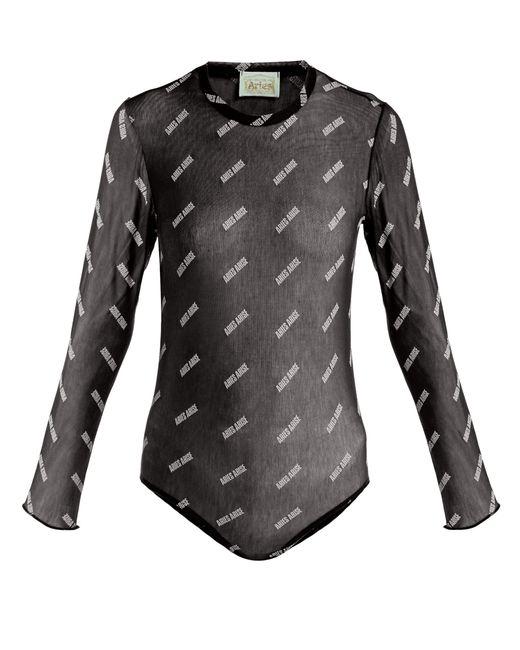 Aries - Black Logo-print Mesh Bodysuit - Lyst