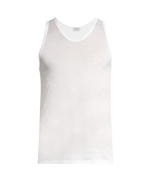 Zimmerli - White Royal Classic Scoop-neck Cotton Vest for Men - Lyst