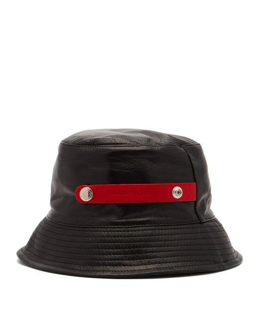 Alexander McQueen - Black Leather Bucket Hat for Men - Lyst