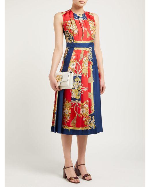 2a5c807f8 ... Gucci - Red Pleated Intrigue Print Silk Satin Midi Dress - Lyst ...