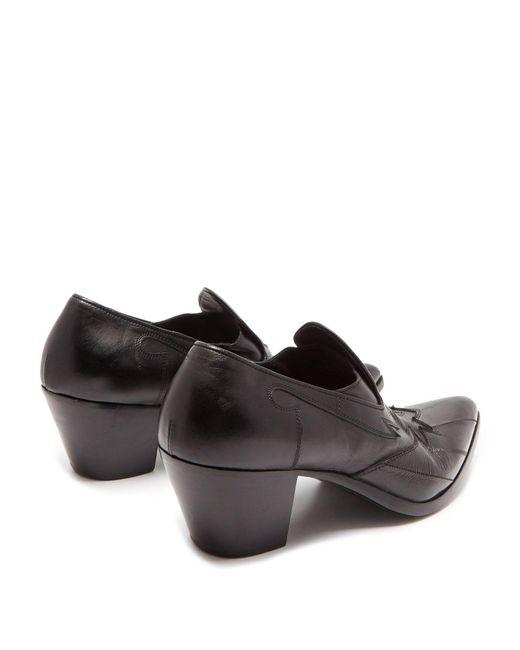 ffcab5462da ... Saint Laurent - Black Finn Western Leather Loafers for Men - Lyst ...