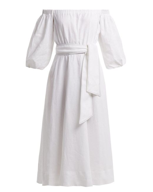 Gabriela Hearst - White Riley Aloe Vera Infused Linen Dress - Lyst