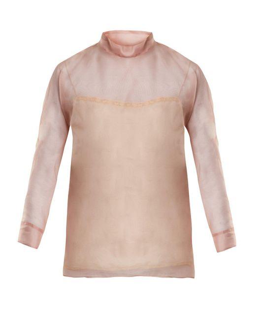 Prada - Pink High-neck Silk-organza Blouse - Lyst