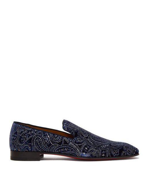 cae3eaa6495 Christian Louboutin - Blue Dandelion Velvet Loafers for Men - Lyst ...