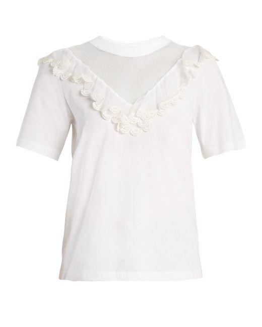 Chloé | White Mesh-insert Ruffled Cotton Top | Lyst