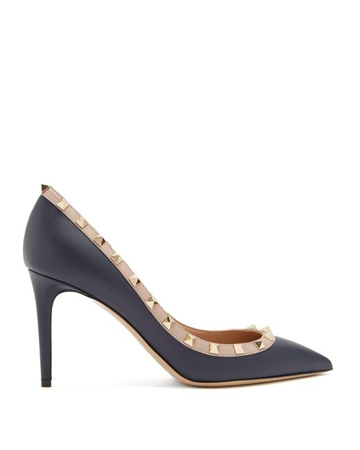 Valentino - Multicolor Rockstud Point-toe Leather Pumps - Lyst