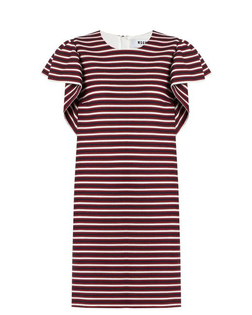 MSGM | Red Ruffled-sleeve Striped-panel Cotton-blend Dress | Lyst