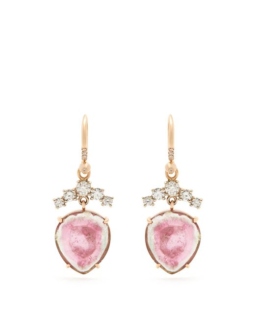 Irene Neuwirth - Metallic Diamond, Tourmaline & Rose-gold Earrings - Lyst