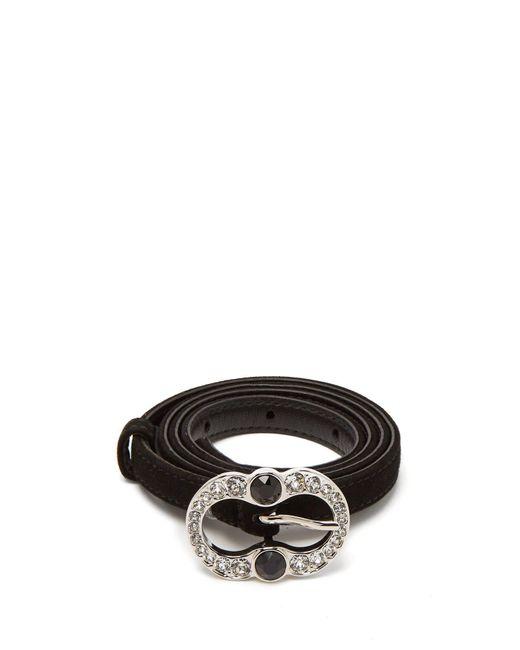 Prada - Black Crystal-embellished Suede Belt - Lyst