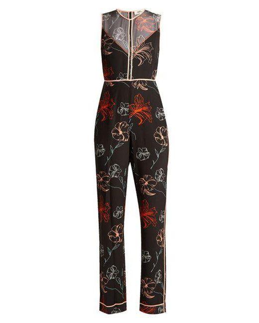 Diane von Furstenberg - Black Fenelon-print Silk Jumpsuit - Lyst