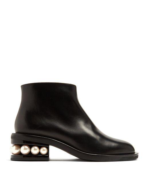 Nicholas Kirkwood - Black Casati Pearl Heeled Leather Ankle Boots - Lyst