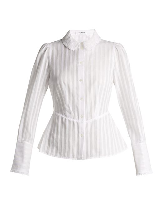 Sonia Rykiel - White Broderie Anglaise Collar Striped Cotton Blouse - Lyst