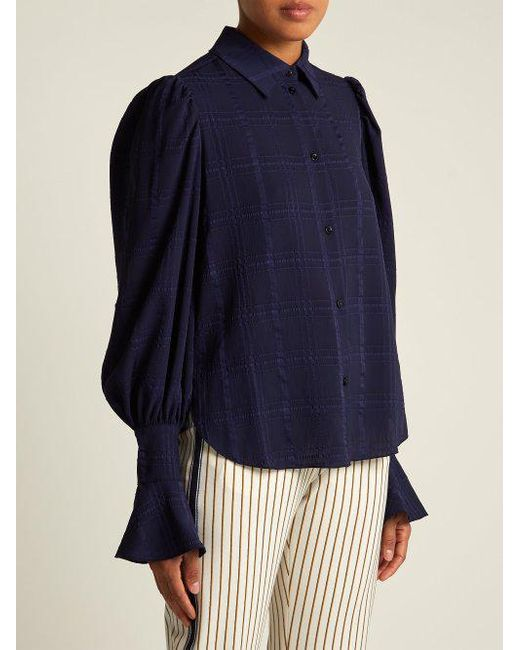 Outlet Where To Buy Discounts Online Bishop-sleeve checked cotton shirt See By Chloé Cheap Sale Factory Outlet Fashionable Online gf80f2