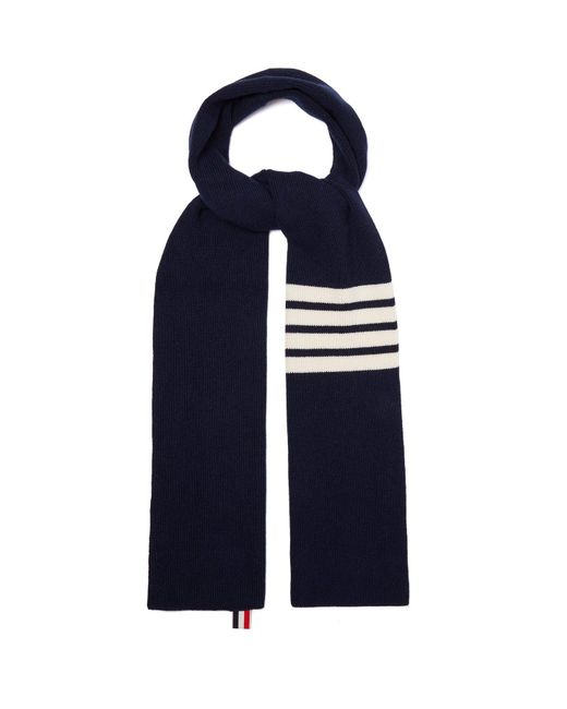 Thom Browne - Blue Stripe Detail Ribbed Knit Cashmere Scarf for Men - Lyst