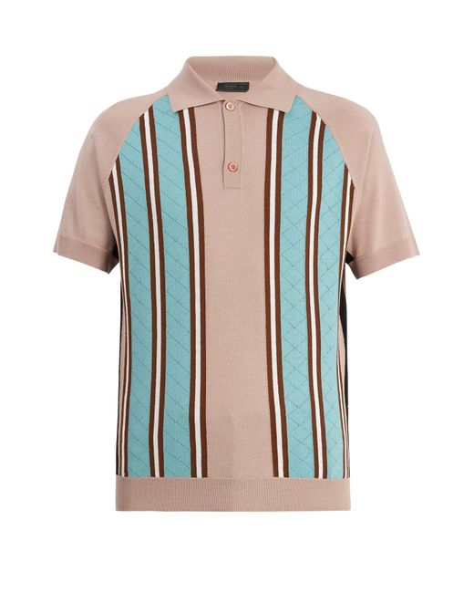 Prada | Multicolor Point-collar Striped-knit Wool Polo Shirt for Men | Lyst