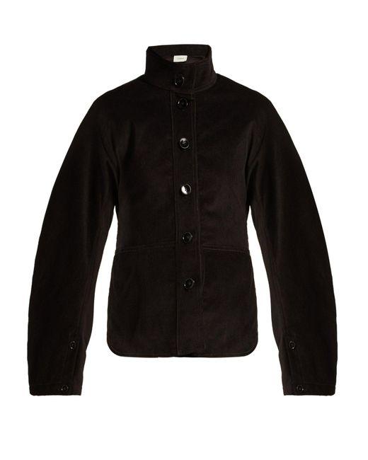 Lemaire - Black High Collar Cotton Corduroy Jacket - Lyst
