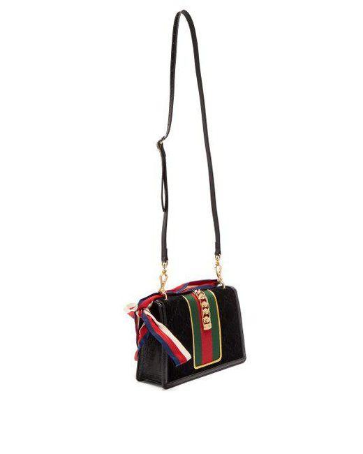 4d989ea7bba ... Gucci - Black Sylvie Small Velvet Shoulder Bag - Lyst ...