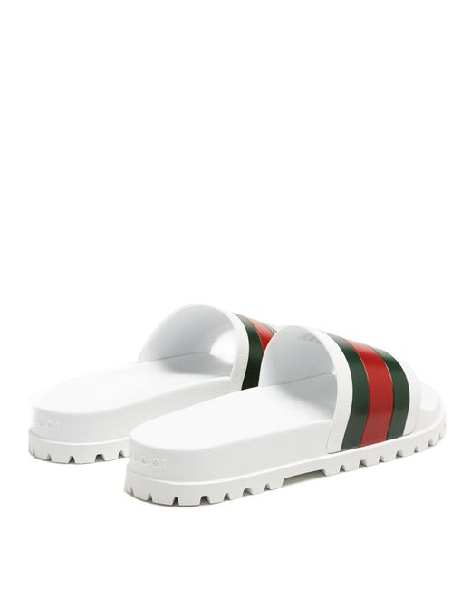 0d4d562fd46c11 ... Gucci - White Pursuit Web Striped Rubber Pool Slides for Men - Lyst ...