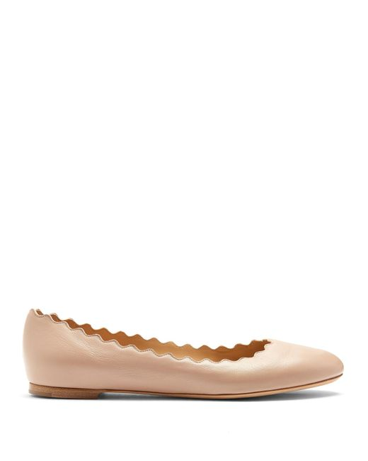 Chloé - Natural Lauren Scallop-edged Leather Flats - Lyst