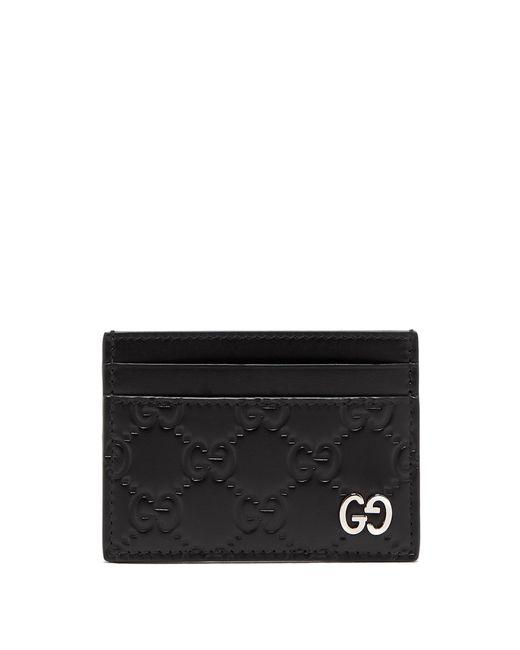Gucci - Black Gg Debossed Leather Cardholder for Men - Lyst
