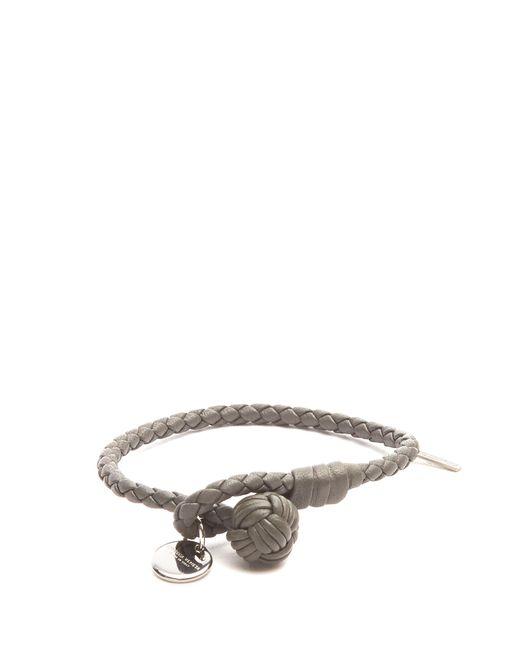 Bottega Veneta | Gray Intrecciato-woven Knot Leather Bracelet for Men | Lyst