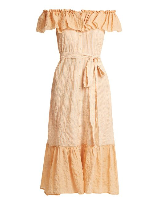 Lisa Marie Fernandez - Multicolor Mira Off The Shoulder Striped Cotton Dress - Lyst