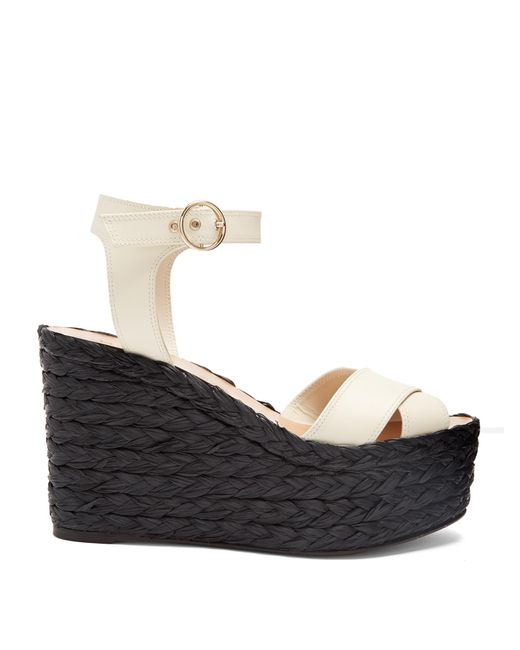 Valentino | Black Nuevitas Cross-strap Leather Wedge Sandals | Lyst