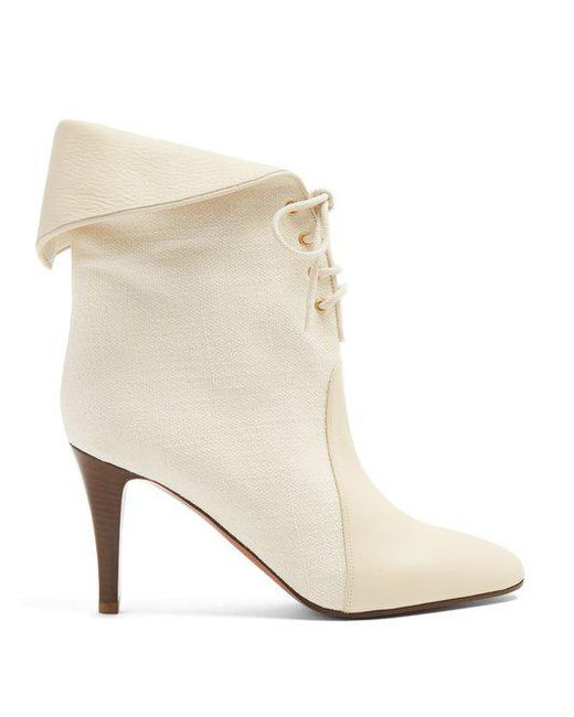 Chloé Kole canvas and leather ankle boots buy cheap wholesale price fvKAL