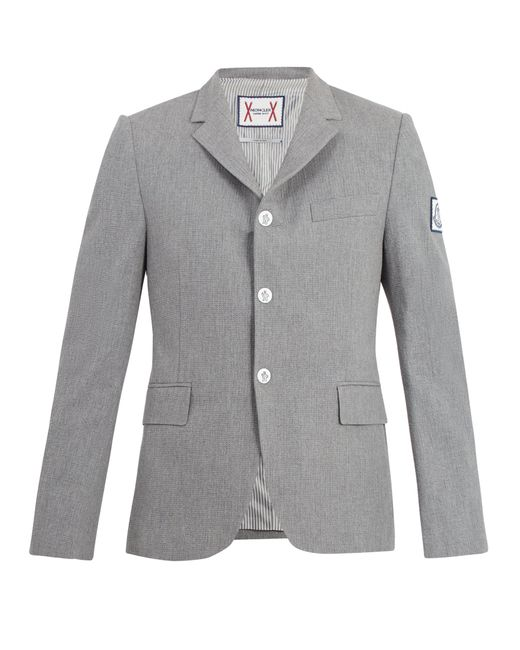 Moncler Gamme Bleu - Gray Blazer en crépon de coton à revers à encoche for Men - Lyst
