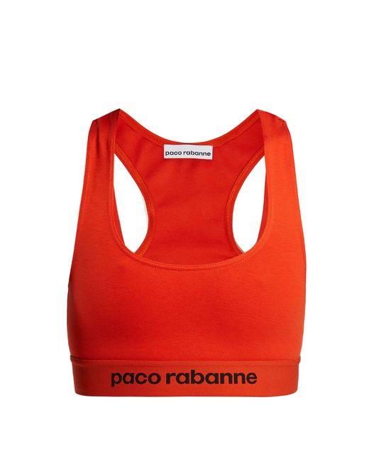 Paco Rabanne - Red Logo-jacquard Sports Bra - Lyst