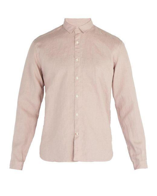 Oliver Spencer - Pink Tab Collar Linen Shirt for Men - Lyst